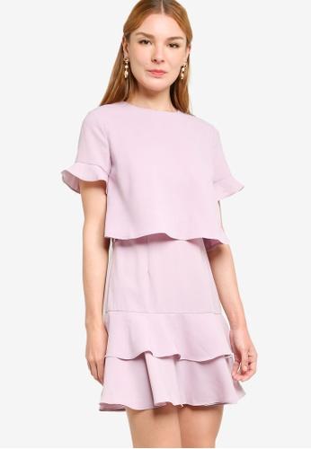 ZALORA WORK pink Fit And Flare Layered Dress 56E0DAA2A1B683GS_1