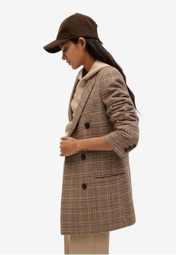 Mango brown Wrap Check Suit Blazer 76E2AAA0F4AFF5GS_1