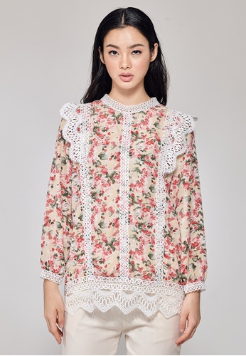 MC Vogue beige Beige Floral Printed Blouse with Front Lace 8720DAA63E749AGS_1