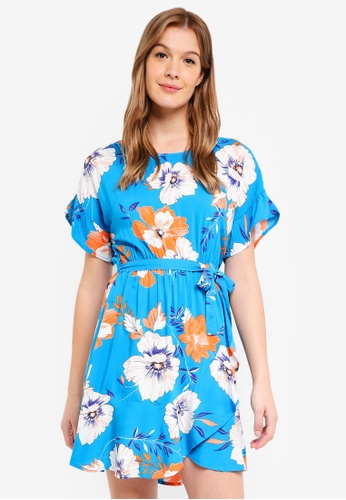 Cotton On blue Woven Bray Short Sleeve Wrap Dress 94D6AAA78C3005GS_1
