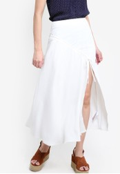 TOPSHOP white Crepe Ruched Split Midi Skirt TO412AA97DDAMY_1