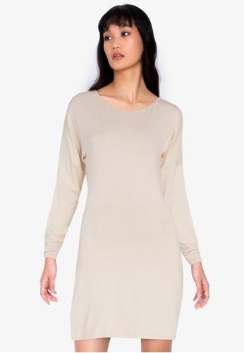 ZALORA BASICS beige Long Sleeve Mini Dress D91A1AA4D7D706GS_1