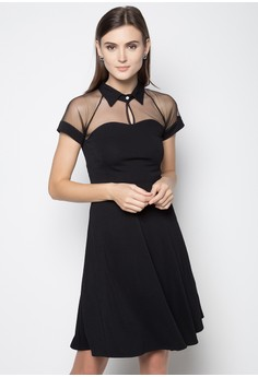 Alice Mesh Panel Fit and Flare Dress