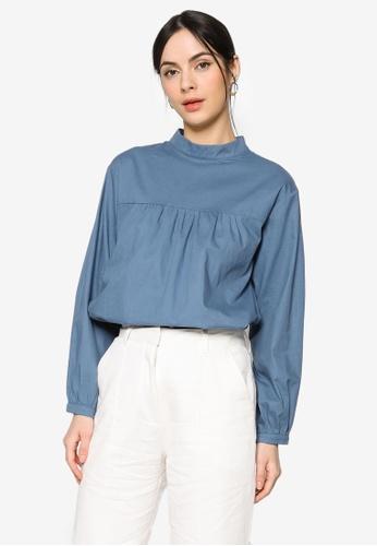 ZALIA BASICS blue Back Buttoned Shirt 44D33AA47B6299GS_1