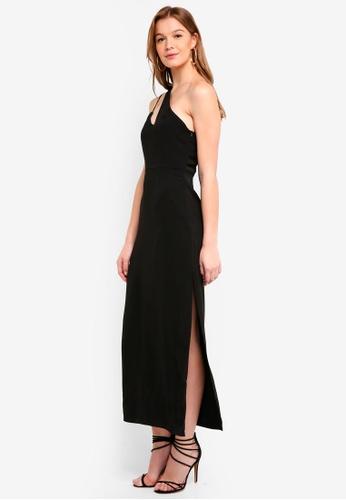 Preen & Proper black One Shoulder Cut-Out Maxi Dress E879DAA8DEF85AGS_1
