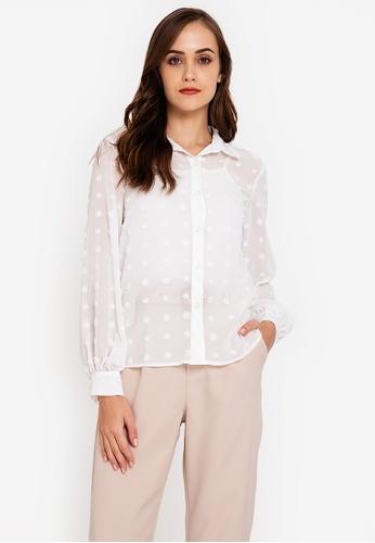 ZALORA WORK white Textured Long Sleeve Shirt CBA13AA1EDC9C1GS_1