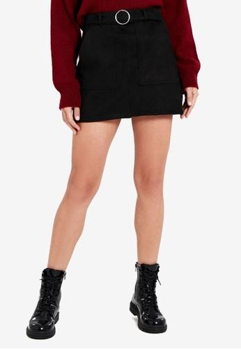 LC Waikiki black Waistband Suede Mini Skirt D6F5BAAB4F3E85GS_1