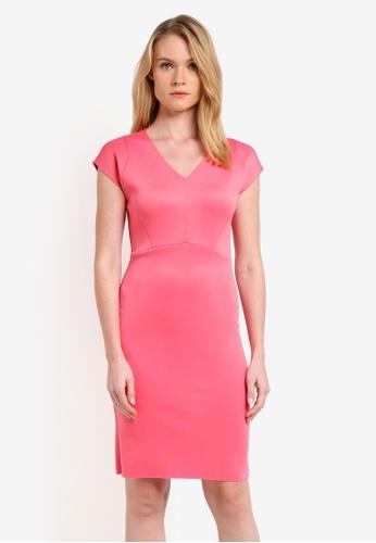 ZALORA pink Essential V Neck Short Sleeve Dress 6399EZZ2B5451DGS_1