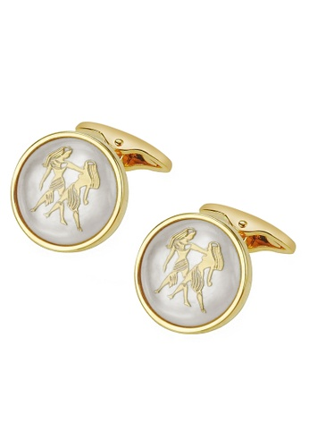 CUFF IT white White Mother of Pearl Gemini Gold Cufflinks 00537ACCD02192GS_1