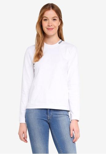 Calvin Klein white Embroidered Logo Long Sleeve T-Shirt - Calvin Klein Jeans D605CAAE81901BGS_1
