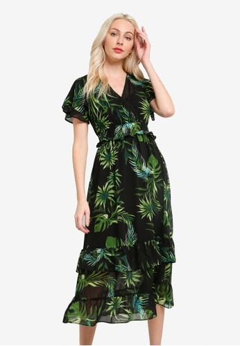 Dorothy Perkins green Petite Tropical Floral Midaxi Dress 94BF5AA7DDCE0FGS_1