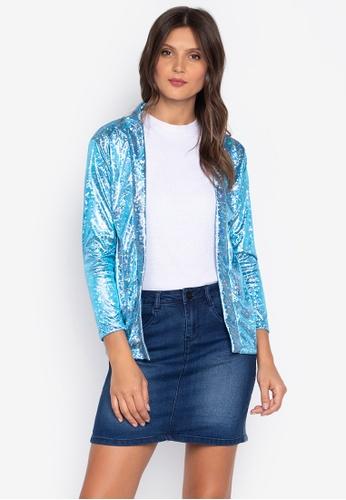Courier blue Glittered Kimono Cardigan 42DF8AAEF39A1FGS_1