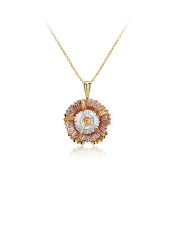 Glamorousky silver Fashion Elegant Plated Gold Flower Pendant with Necklace A9733AC90F1E06GS_1