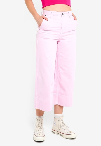 TOPSHOP pink Moto Striped Cropped Wide Leg Jeans 7D923AA0006823GS_1