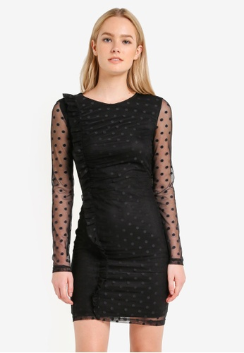 Miss Selfridge black Black Spot Mesh Ruched Dress MI665AA0RJF0MY_1