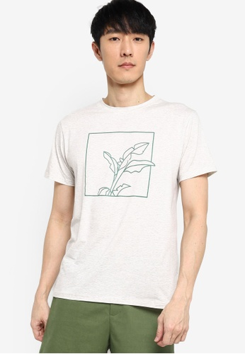 ZALORA BASICS grey Framed Foliage Graphic T-Shirt 105ABAA4334AECGS_1