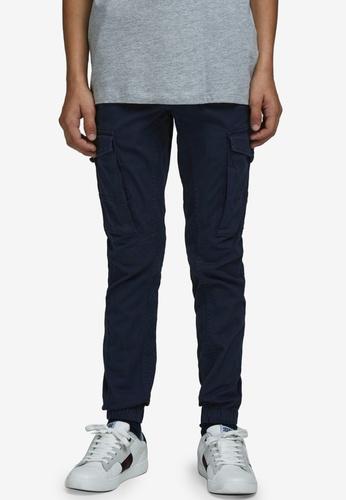 Jack & Jones navy Paul Cargo Trousers 0A0DCKA087F467GS_1