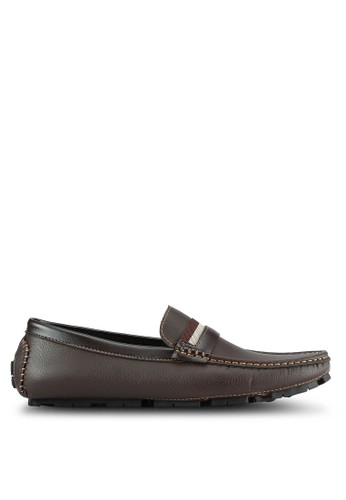 UniqTee brown Penny Loafers With Strap Detail UN097SH0S213MY_1