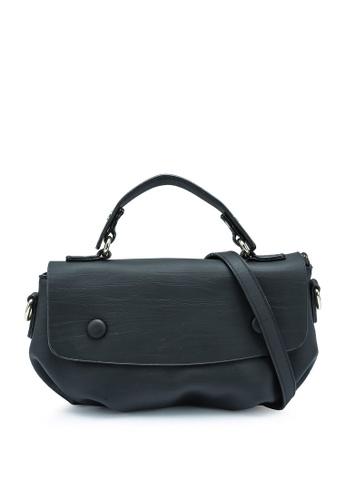 Bagstationz black Faux Leather Convertible Satchel Bag 50667AC71FFFF9GS_1