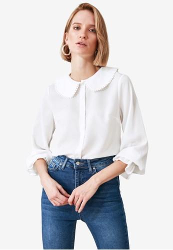 Trendyol white Embroidery Trim Collar Blouse F1E0FAA91E2393GS_1