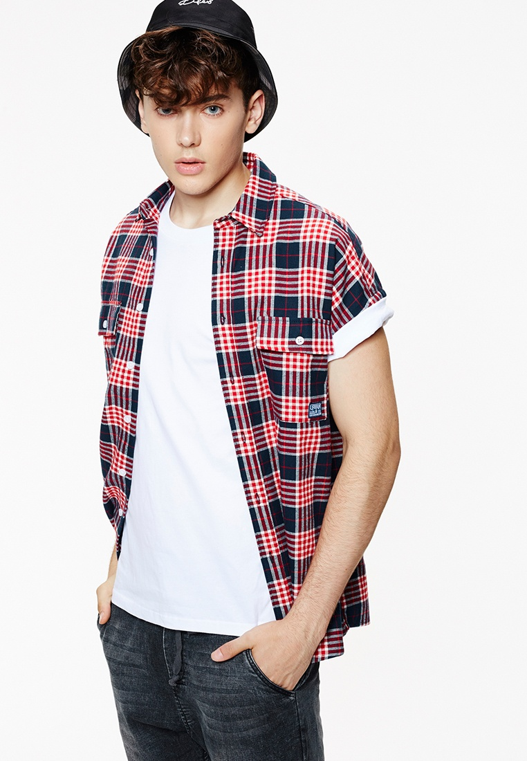 Blue Shirts Sleeveless Flannel Red Life8 Red Checked 03932 Casual In Blue and HF0dxnq50w