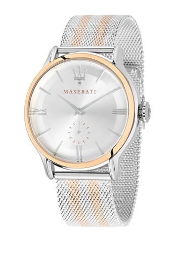 Maserati silver Epoca Quartz Watch R8853118005 Silver and Rose Gold Metal Strap ED573ACC24217EGS_1