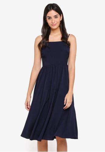 WAREHOUSE 海軍藍色 Plain Smocked Midi Dress 9B0EBAA6BD8DAFGS_1