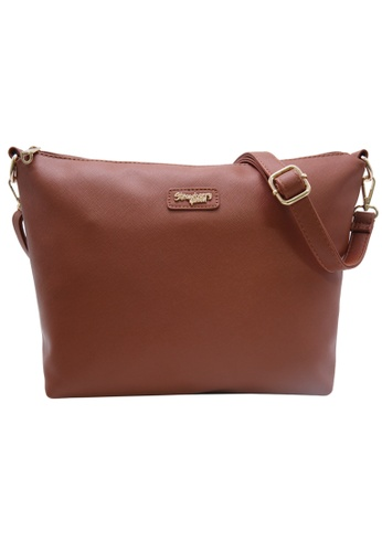 STRAWBERRY QUEEN brown Strawberry Queen Flamingo Sling Bag (Saffiano Leather AZ, Camel) E0B0AAC04EF1ECGS_1