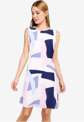 G2000 white Giant Puzzle Printed Fit-and-Flare Dress 933E0AA920CD73GS_1