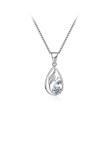 Glamorousky white 925 Sterling Silver Butterfly Pendant with Cubic Zircon and Necklace A20AEAC4AF1B41GS_1