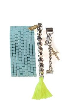 3pc Hipanema Turquoise Bracelet Stack