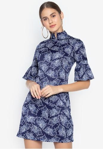 best website 60b32 d05d5 Donna Raised Collar Work Dress with Bell Sleeves