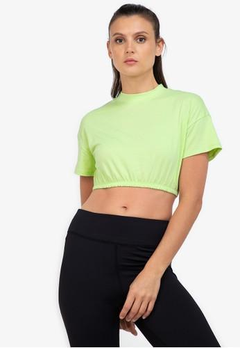 ZALORA ACTIVE green Elastic Banded Crop T-Shirt CC137AA1ADD7DAGS_1