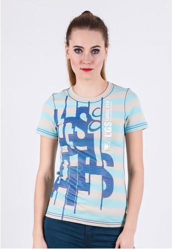 LGS - Slim Fit - Ladies T-Shirt - Blue - Striped - Printed Tee.