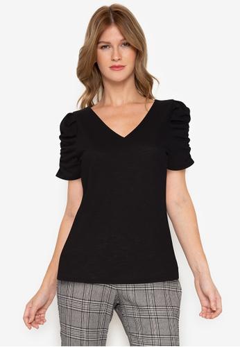 Twenteen black Black Knit Textured V-Neck Front & Back Short Leg-O-Mutton Blouse 3BDDCAA3555BCBGS_1