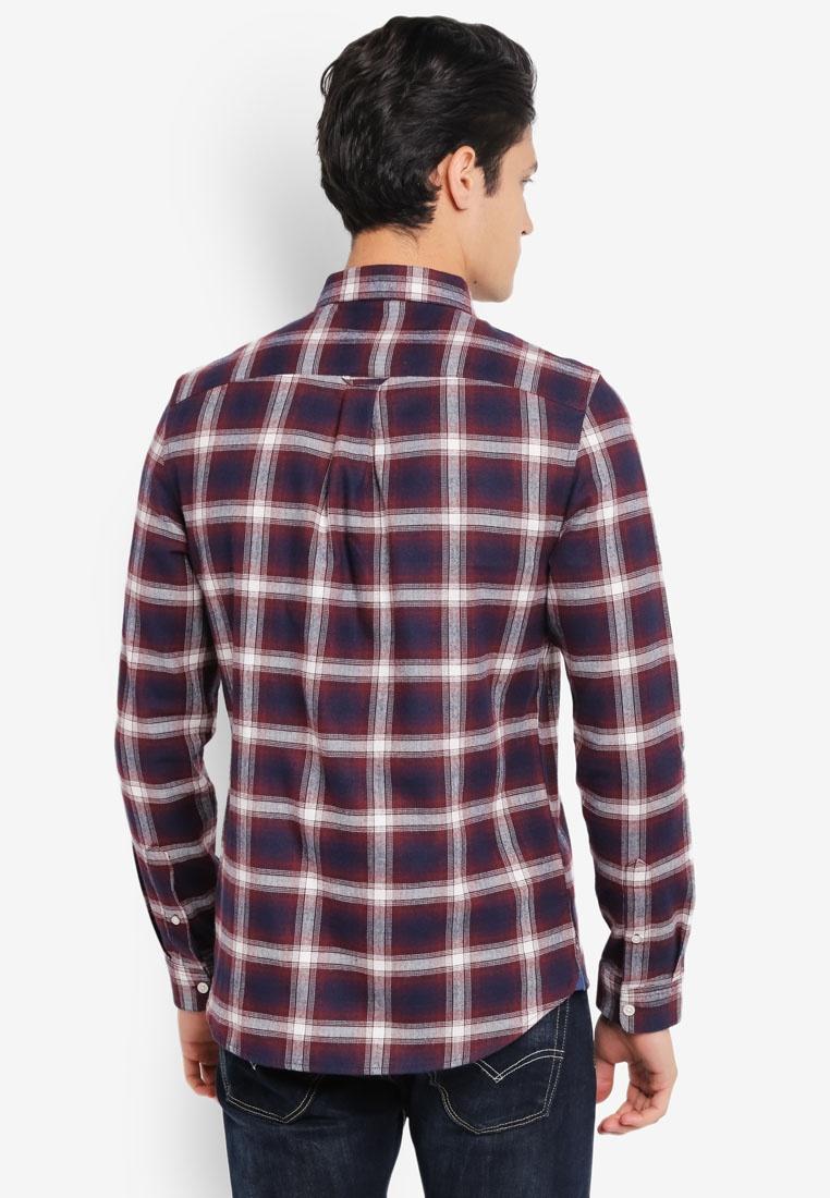 Burgundy Shirt Burton London Long Checkered Navy Menswear Sleeve Burgundy SBq6w0n
