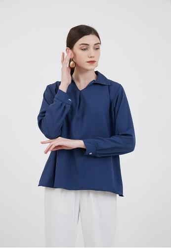 Berrybenka Label blue Sophie Murdia Plain Blouse Navy 65889AA9B24AADGS_1