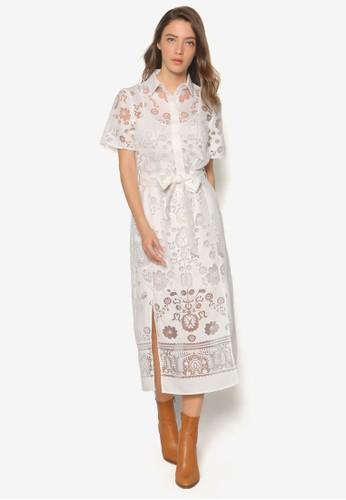 Chatton 透膚花卉襯衫式洋裝, 服飾, 洋esprit 高雄裝