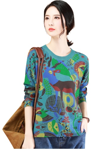 A-IN GIRLS blue and multi Fashion Print Crew Neck Sweater 1A453AA2F43B9FGS_1