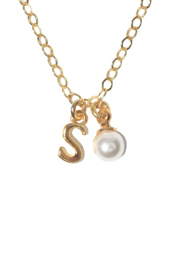 PSYNDROME gold Personalised Initial Letter Alphabet with Pearl Necklace - S D0D4BAC80E67BAGS_1
