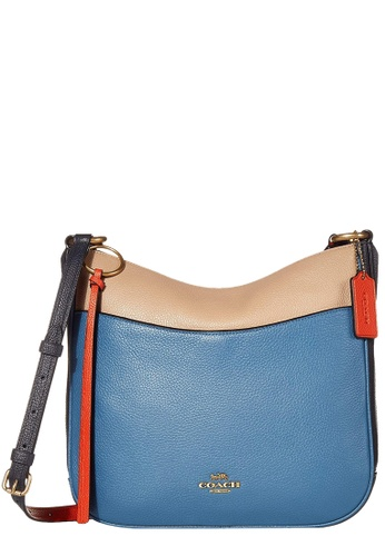 Coach 黑色 and 橘色 and 藍色 Coach Colorblock Chaise Crossbody Bag in Lake Multi 40994ACDFD3528GS_1