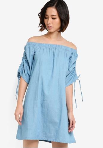 ZALORA blue Off The Shoulder Drawstring Dress 49CEEAAD516411GS_1