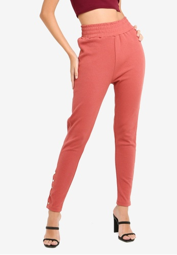 MISSGUIDED red Rib Joggers F0D62AA1C4D661GS_1