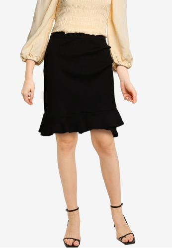 Forever New black Lucy Frill Rib Mini Skirt 4CCD4AAC52A6FBGS_1