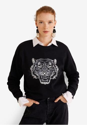 Mango black Tiger Embroidered Sweatshirt C7562AA55BC266GS_1