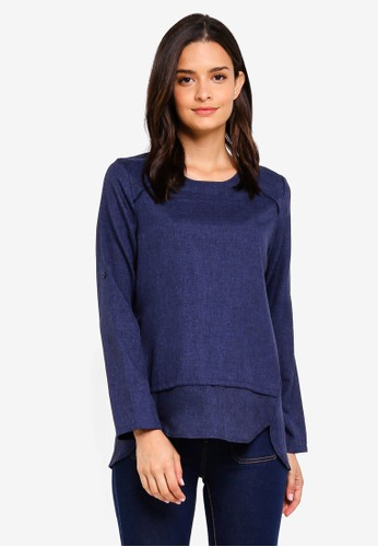 peace collections navy Panel Blouse C3095AABE18793GS_1