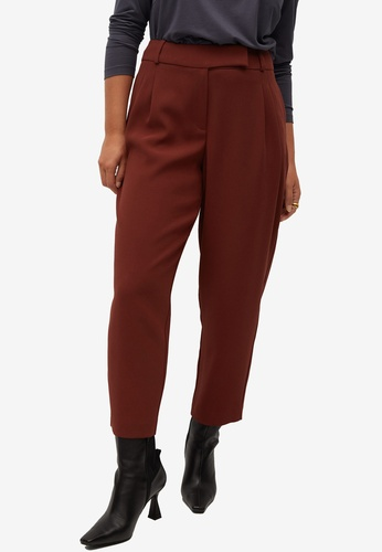 Violeta by MANGO red Plus Size Straight-Cut Crop Trousers 741F6AA22DB756GS_1