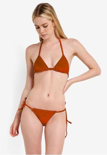 PINK N' PROPER orange Opulence Venus Velvet Bikini Set 0B23BUS2DC784DGS_1