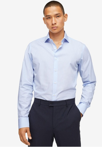 MANGO Man blue Slim Fit Thousand Striped Suit Shirt AD102AA1F309A7GS_1