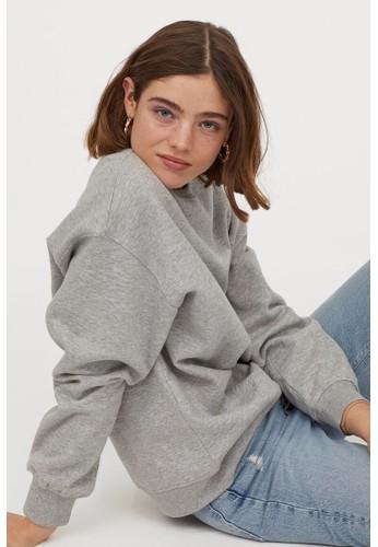 H&M grey Oversized sweatshirt 858E5AA5E7D978GS_1